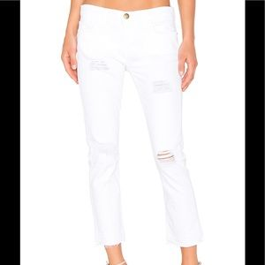 Current Elliott White Cropped Straight Jeans